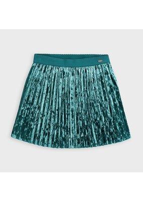 Duck Green Pleated Velvet Skirt
