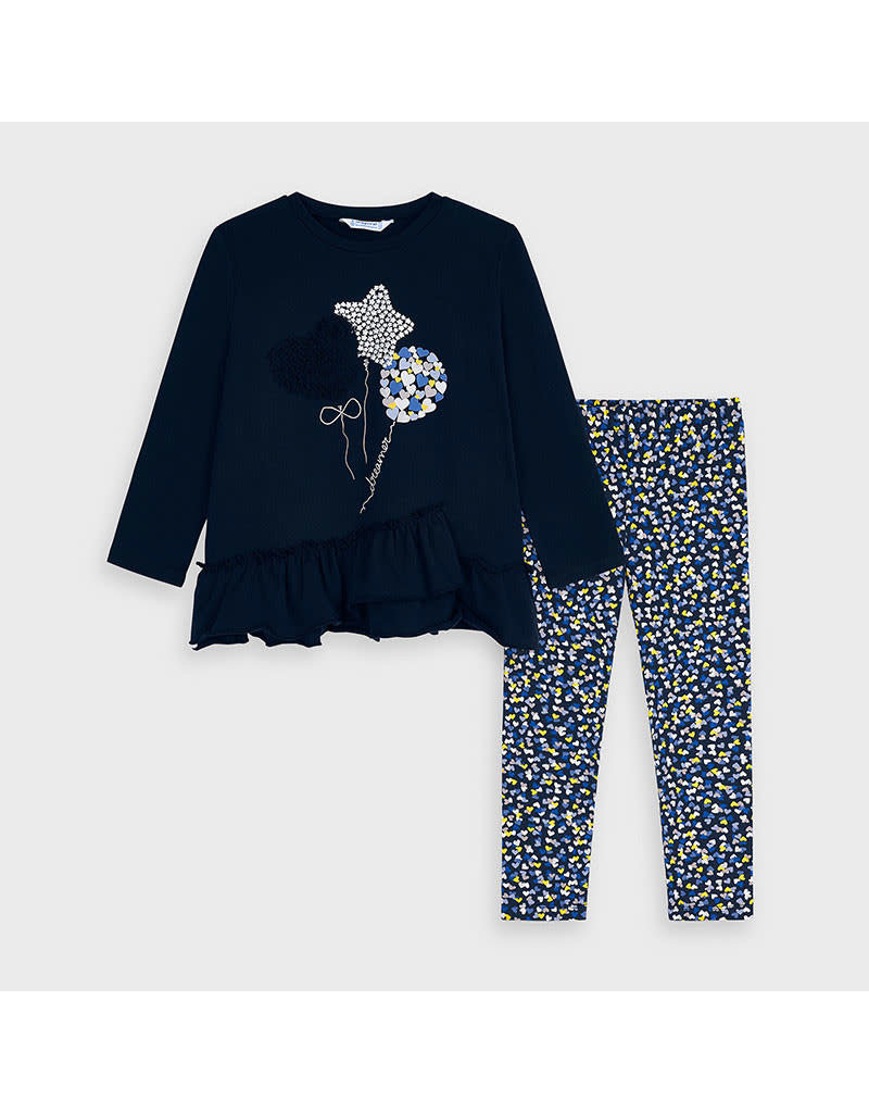 Navy Hearts Leggings Set