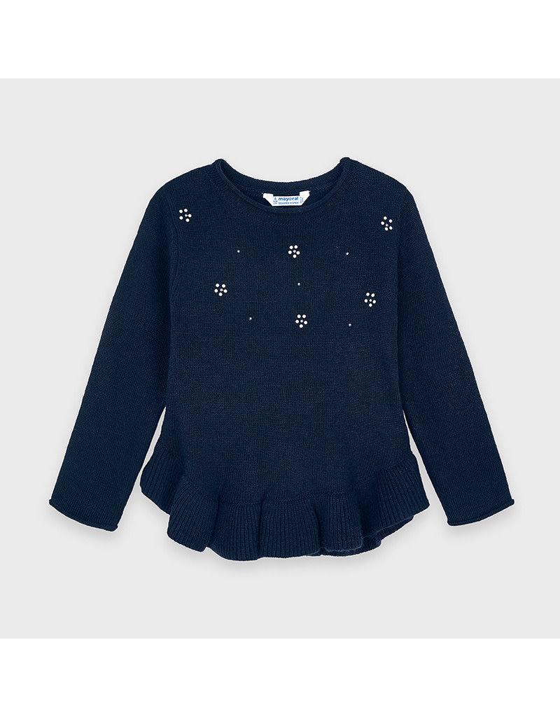 Navy Ruffle Sweater