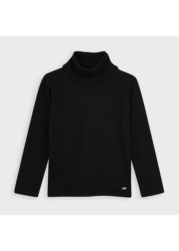 Black Basic Knitting Turtleneck