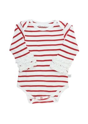White & Red Striped Ruffle Onesie