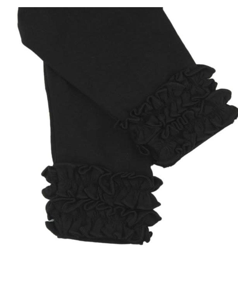 RuffleButts Everyday Ruffled Leggings Black 4T-5