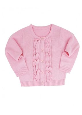 RuffleButts Pink Ruffled Cardigan Toddler