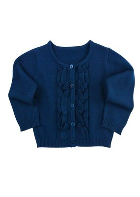 RuffleButts Navy Ruffled Cardigan Toddler