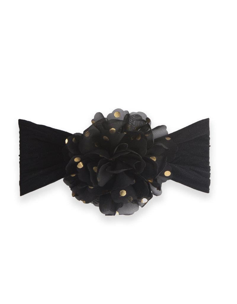 Baby Bling Gold Dot Flower Black