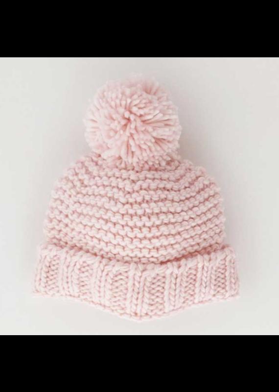 Blush Pink Garter Stitch Beanie Hat