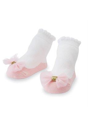 MudPie Pink Mesh Bow Socks