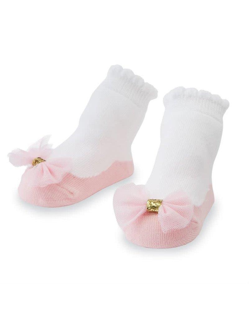 Pink Mesh Bow Socks
