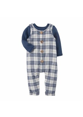 MudPie Check Overall Shirt Set