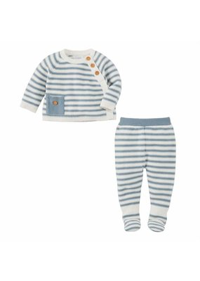 MudPie Knit Blue Stripe 2 Piece