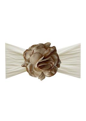 Baby Bling Silk Ruffle Flower Headband Ivory/Khaki