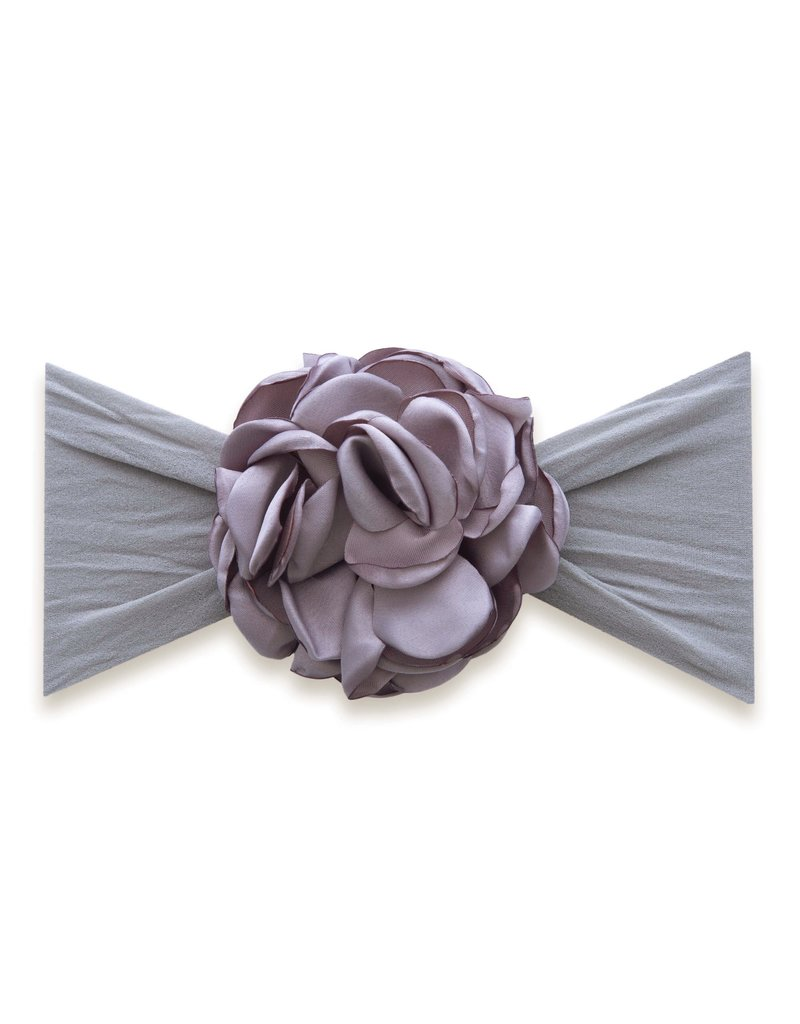 Baby Bling Silk Ruffle Flower Headband Grey