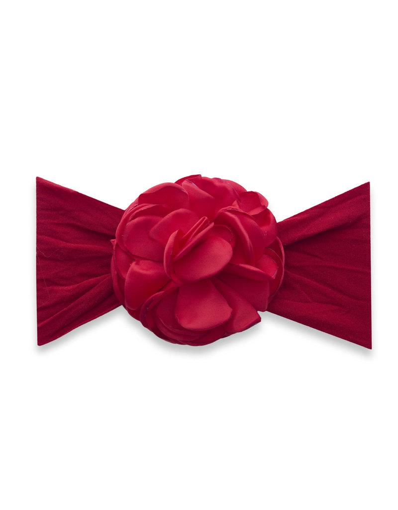 Baby Bling Silk Ruffle Flower Headband Red