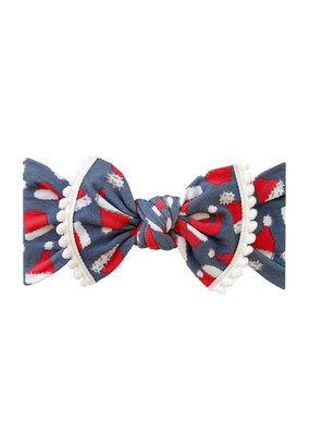 Baby Bling Trimmed Printed Knot Ho-Ho-Bow