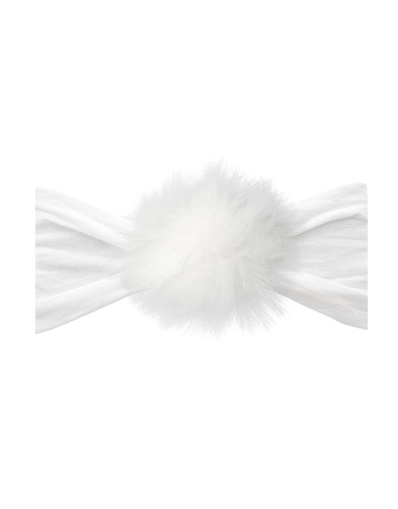 Baby Bling Rabbit Fur Pom White