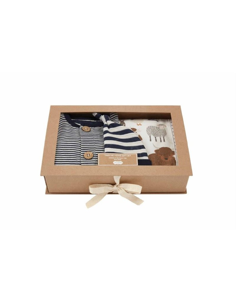 MudPie Blue Stripe Boxed Gift Set 0-3m