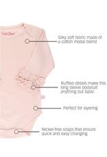 RuffleButts Ballet Pink Ruffled Long Sleeve Onesie