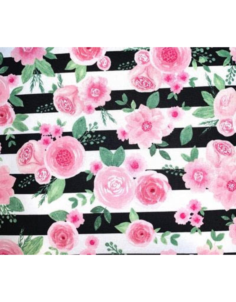 Pink Flower Stripes Mask