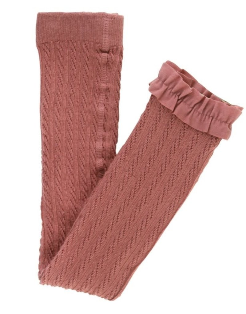 Mauve Cable Knit Footless Tights