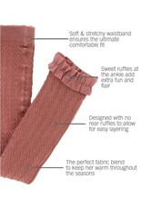 RuffleButts Mauve Cable Knit Footless Tights