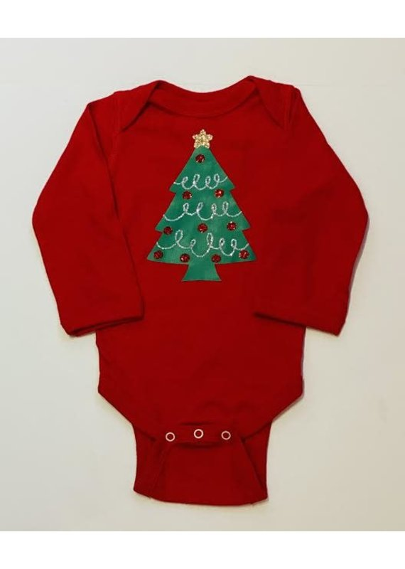 Glitter Tree Red Onesie Long Sleeve
