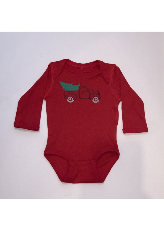 Red Onesie with Christmas Tree Truck