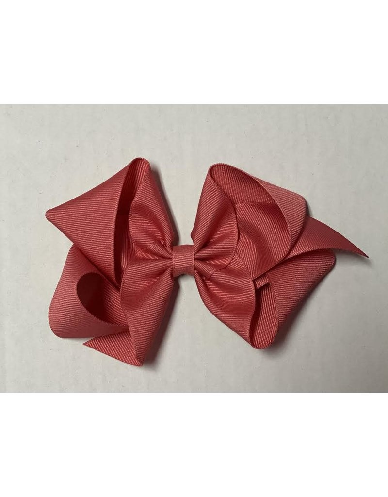 Coral Rose Big (5in) Grosgrain Bow