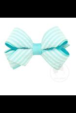 Mini Seersucker Overlay Bow Blue