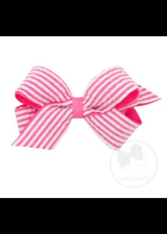 Mini Seersucker Overlay Bow Hot Pink
