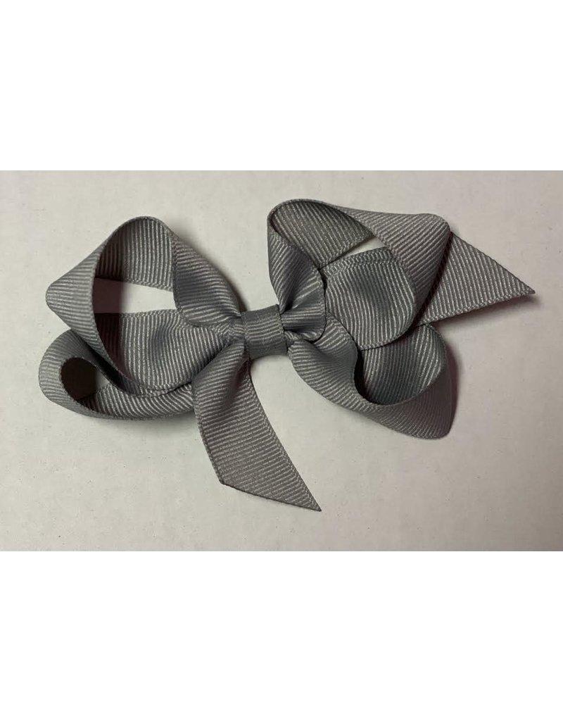 Silver/Dark Gray Small (4in) Grosgrain Bow