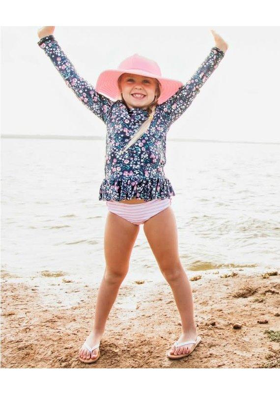 Moonlit Meadow Peplum Long Sleeve Rash Guard Bikini