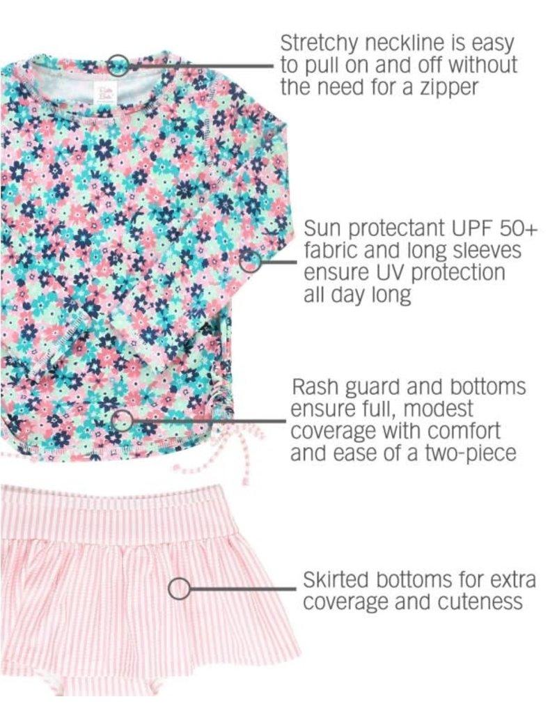 Water Lilies Long Sleeve Rash Guard Skirted Bikini Toddler