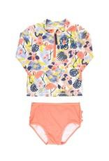 Tropical Flamingo Long Sleeve Zipper Rash Guard Bikini