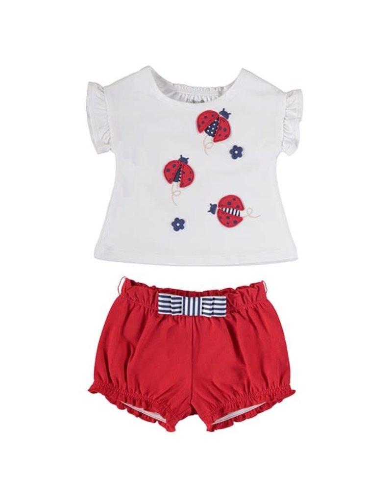 White Ladybug Shirt 2 Piece Set