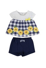 Navy Gingham Sunflower Shirt Short Set