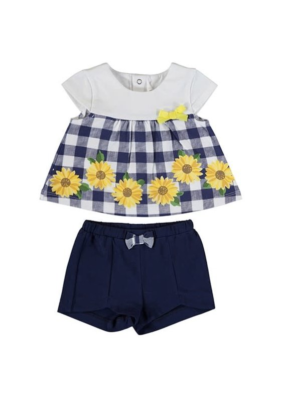 Navy Gingham Sunflower Shirt Short Set