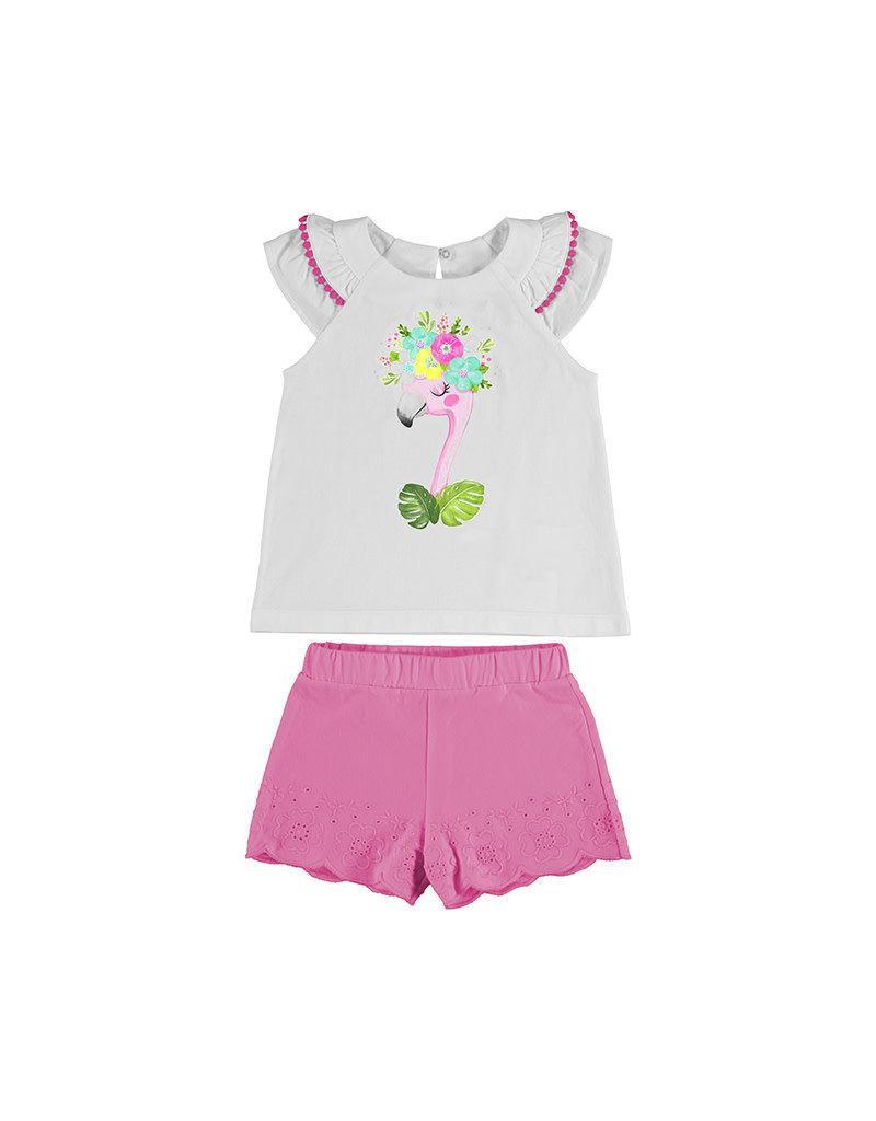 Camellia Flamingo Embroidered Short Set