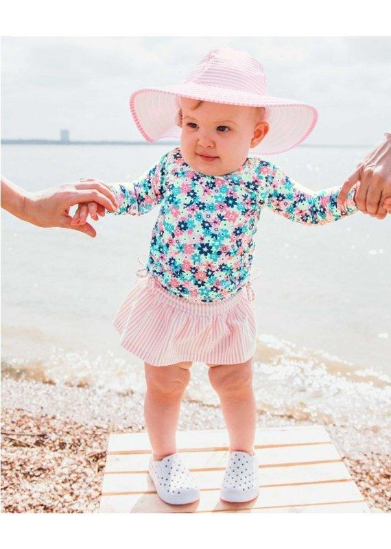 Infant Water Lilies Long Sleeve Rash Guard Skirted Bikini