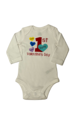 1st Valentines Day Onesie with Hearts