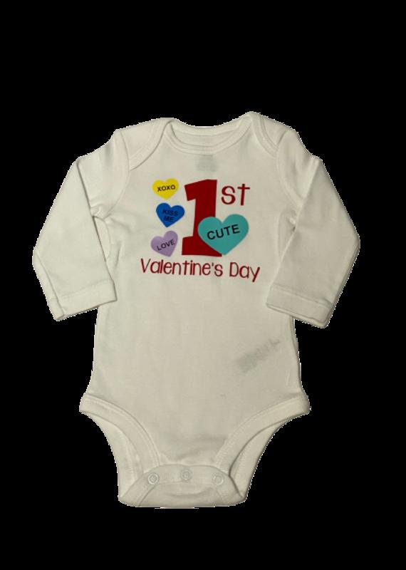 1st Valentines Day Onesie with Hearts