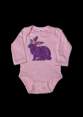 Pink Long Sleeve Onesie Glitter Bunny