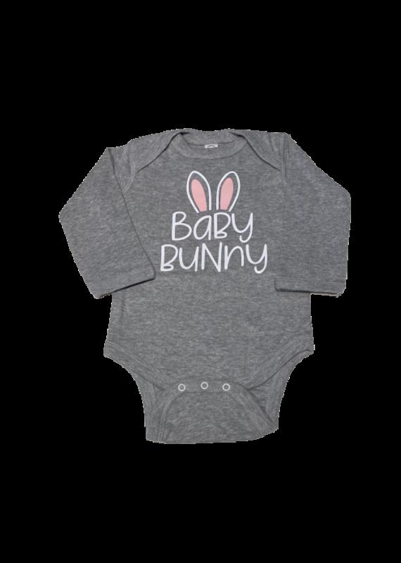 Baby Bunny Grey Long Sleeve Onesie