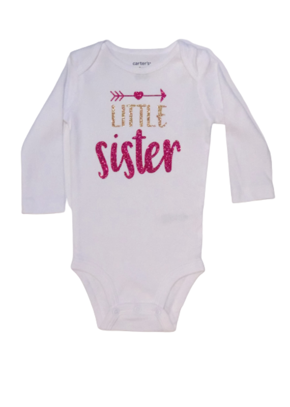 Little Sister Gold & Pink Long Sleeve Onesie