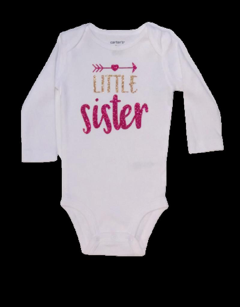 Little Sister Gold & Pink Long Sleeve Onesie