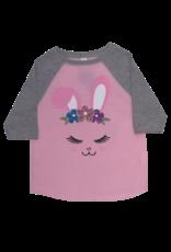 Crown Bunny Long Sleeve Pink/Grey Baseball Tee