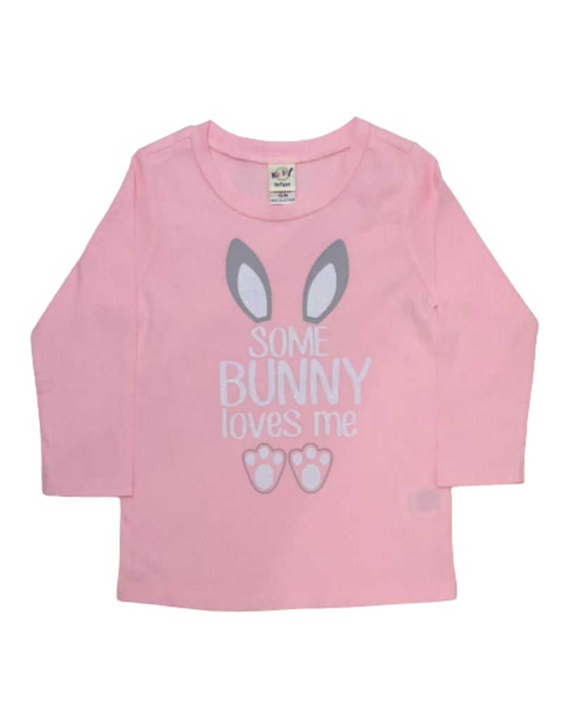 Some Bunny Loves Me Pink Onesie Long Sleeve