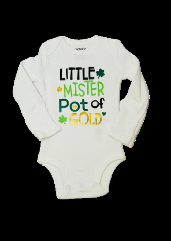 Little Mister Pot Of Gold Long Sleeve Onesie
