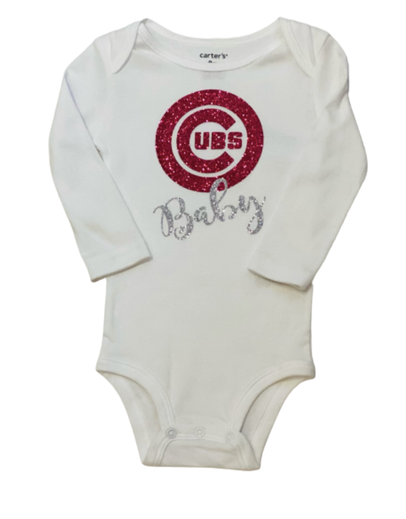 Cubs Baby Long Sleeve Pink Onesie