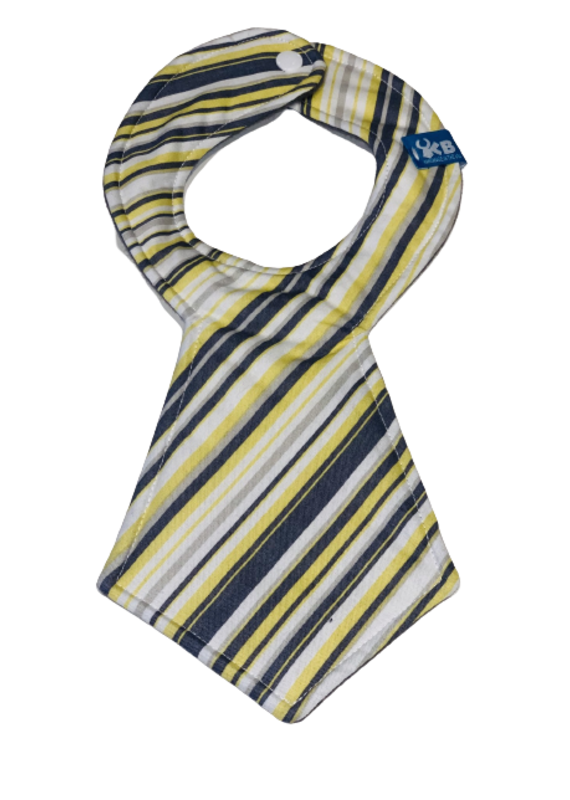 Yellow & Gray Stripe Tie Bib