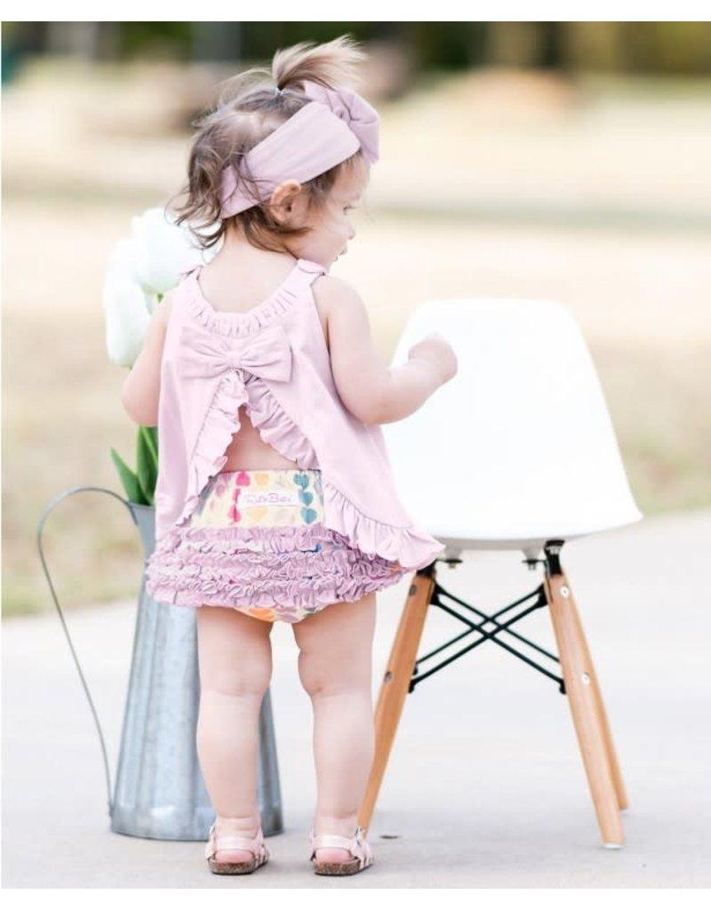 Soft Lilac Knit Ruffle Swing Top